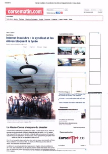 Article Corse Matin du 22 Avril 2016: Occupation Lycée Agricole de Sartène